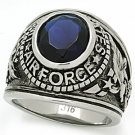 "Men's Military Stainless Steel ""United States Air Force"" Sapphire Ring, Size 12"