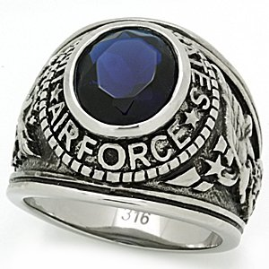 """Men's Military Stainless Steel """"United States Air Force"""" Sapphire Ring, Size 12"""