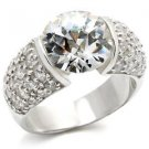 Sterling Silver 925 Engagement Wedding Ring W/ Clear  Round CZ, Size 6,7,9,10,11