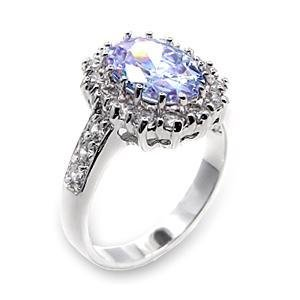 3.5 Carat Wedding, Cocktail Ring With Light Amethyst Oval CZ, Size 5,6,7,8,9