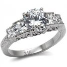 Stainless Steel Engagement Ring W/ Round & Princess  Cut CZ , Size 6,8,10