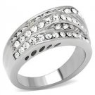 Stainless Steel Clear Round Pave CZ Engagement, Wedding Band, Size  5,6