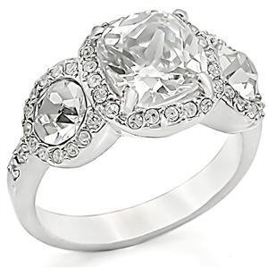 Clear Cushion Cut & Round CZ Wedding, Cocktail Ring  Size 5,6, 9,10