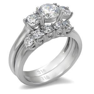 Stainless Steel Engagement, Wedding Ring Set W/Clear Round CZ, Sz 5,6,7,8,9,10