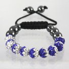 White & Blue Shamballa Bracelet With Two Tone Crystal 9 Disco Ball 12 mm Beads