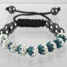 Shamballa Bracelet W/ White & Emerald Two Tone Crystal 9 Disco Ball 12 mm Beads