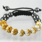 Shamballa Bracelet With Amber & White Two Tone Crystal 9 Disco Ball 12 mm Beads