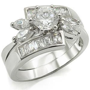 Lady's Engagement Wedding Ring Set W/ Clear 1.5 Carat Round CZ, Size 6,7,8,9,10