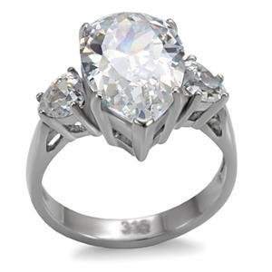 Stainless Steel Lady's Engagement Ring W/ Pear Shape Clear CZ Size 5,6,7,8,9,10