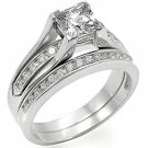 Lady's Engagement , Wedding Ring Set W/ Clear Princess Cut CZ, Size  8, 10