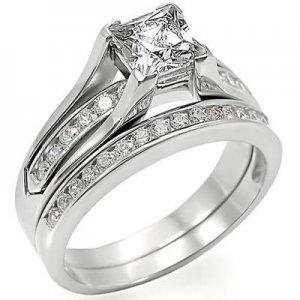 Lady's Engagement , Wedding Ring Set W/ Clear Princess Cut CZ, Size  8, 10