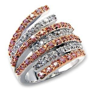 Rose Gold , Two Tone, Pink And Clear CZ Cocktail Pave Ring, Size 5,6,7,8,9,10