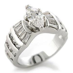 Silver Tone Clear Marquise & Baguette CZ Engagement Wedding Ring, Size 10, 11