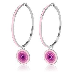 Stainless Steel Pink Earrings Hoop, High Polished,