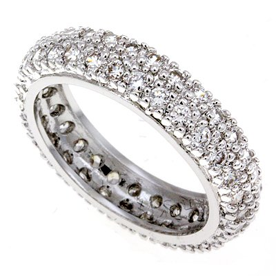 Sparkling Engagement, Wedding Band W/ Multiple Clear CZ. Size  5,6,8,9,10