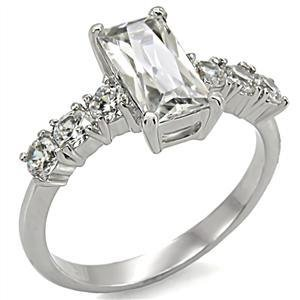 Clear Baguette CZ Stainless Steel Wedding, Engagement Ring, Sz 5,6,7,8,9,10