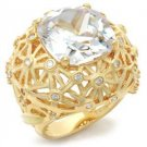 Gold Plated Dome Cocktail Ring With Clear Cushion Cut  CZ, Size 9,10