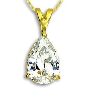 3 Carat Gold Plated Pear Cut CZ Pendent,    (Chain Not Included)