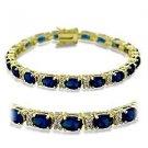 "7"" Bracelet W/ Montana Sapphire Oval Cut CZ, September Birthstone, Gold Plating"