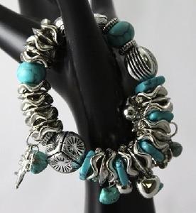 Designer Turquoise Fashion Jewelry Braclets, Elastic Band