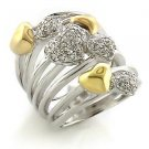 Two Tone Multi Row Cocktail  Ring With Hearts, Size 8,9