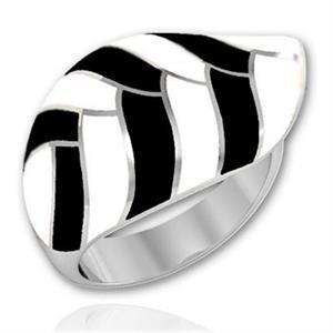Stainless Steel Black Enamel Striped Leaf Cocktail Ring, Size 5,6,7,8,9,10