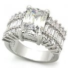 4 Carat Engagement, Wedding Ring With Clear Emerald Cut CZ, Size 5,6,7,8,9,10