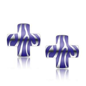 Stainless Steel Cross Earrings , Blue & White, High Polished, No Stone