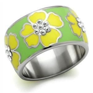 Stainless Steel Yellow Hawaiian Flower Enamel Cocktail Band Ring, Sz 5,6,7,9,10