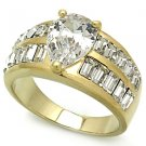 Two Tone Wedding Ring With Clear Pear And Emerald Cut CZ, Size 5,6,7,8,9,10