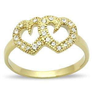 Ion Gold Plated Double Heart  Promise Ring With Clear Crystal, Size 5,6,7,8,9,10