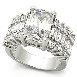Brilliant  Clear Emerald Cut CZ Wedding, Engagement Ring, Size 5,6,7,8,9,10