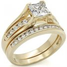 Gold Plated  Clear Princess Cut CZ Wedding Ring Set , Size 5,6,8,9 ,10