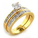 1 Carat Two Tone Clear Round CZ  Engagement,Wedding Set, Size  10