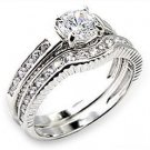 2 Ct  Round Clear CZ  Engagement,  Wedding Ring Set, Size  5, 6 , 9 ,10