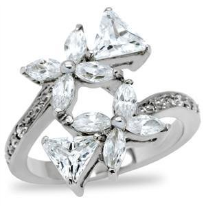 Stainless Steel  Floral Cocktail Ring W/ Clear Marquise  CZ , Size