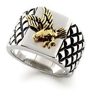 Men's Two Tone Bald Eagle Ring, Size 8,9,10,11,12 ,13