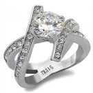 2.50 Carat Clear Round CZ Criss Cross Band Stainless Steel Ring, Size 5,6,8,9,10