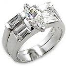 1 Carat Clear Marquise Cut CZ Bridal Wedding Ring Set, Size 5,6,7,8,9,10