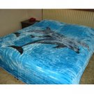 3 dolphins, mink style soft and warm Queen size Blanket, Q110E