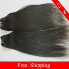 Remy Human Hair Weft Virgin Indian hair extensions Straight 16nches 2pks 8oz off Black