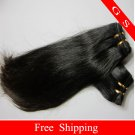 100%Indian Human Hair Weft Virgin Human Hair Extensions Straight,20inch 2pks,8oz,off Black