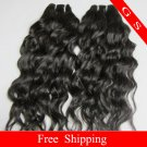Brazilian Human Hair weave Virgin Remy Hair Extensions water Wave 18Inch 2packs 8oz Black and Brown