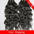 """Top Quality Brazilian Human Hair Weft Remy Hair Extensions water Wave 22""""  8oz Black and Brown"""