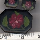 Vintage painted Black Tole Pin Brooch/Pin and  Earrings Set  - Hand painted