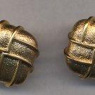 Vintage NAPIER  PIERCED Earrings Excellent Condition  Gold Tone Square