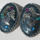 Silver Western Clip On Earrings - Cowboy boots, hats, saddles Oval Rhinestones