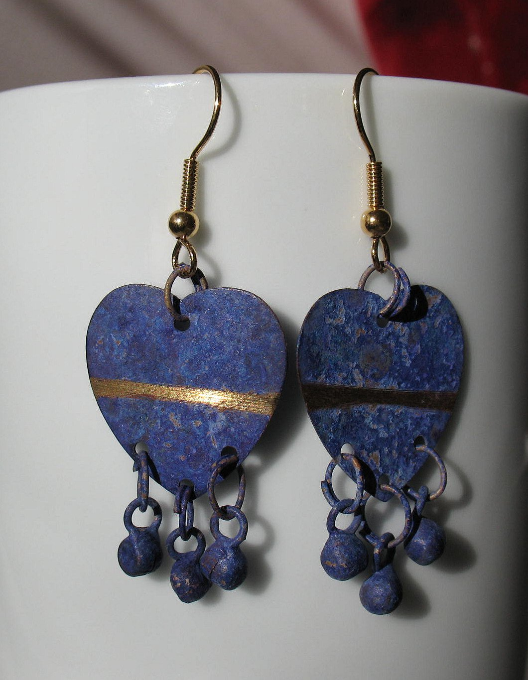 Purple Heart Pierced Earrings Upcycled from Vintage Jewelry - Gold Tone Handmade