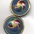 Teal Blue Suede and Enamel Pierced Earrings Round GoldTone Vintage Unique
