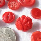 25 VINTAGE RED COLORED SEWING BUTTONS - Mixed Plastic - Swan Button, specialties